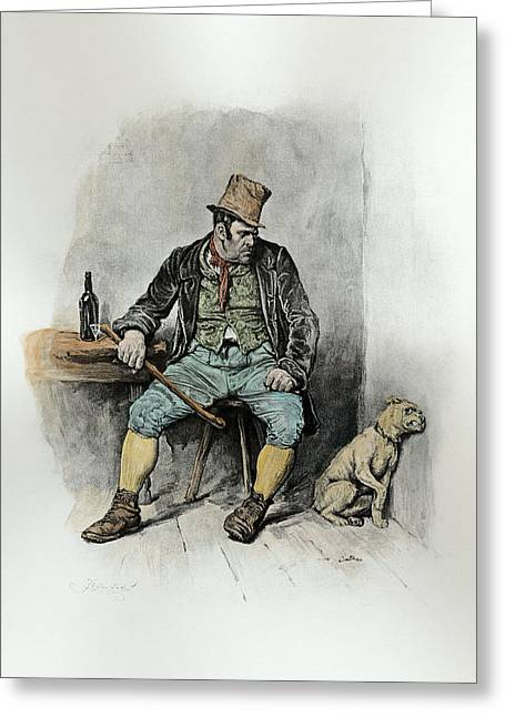Violent Greeting Cards - Bill Sykes And His Dog, From Charles Greeting Card by Frederick Barnard