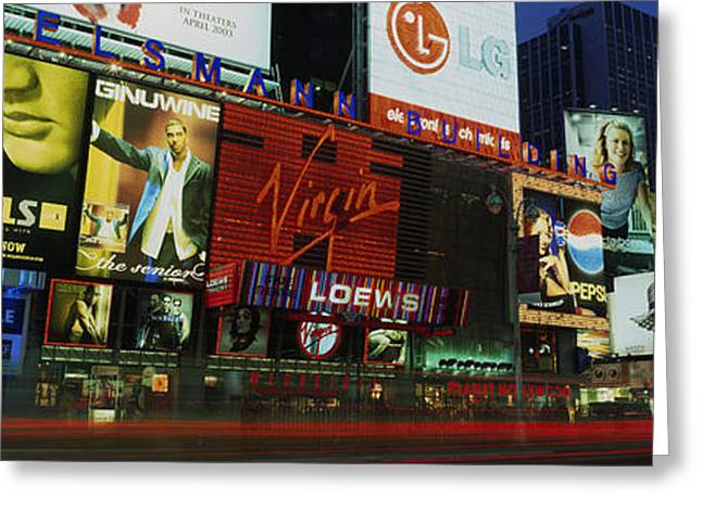 Theater Greeting Cards - Billboards On Buildings In A City Greeting Card by Panoramic Images