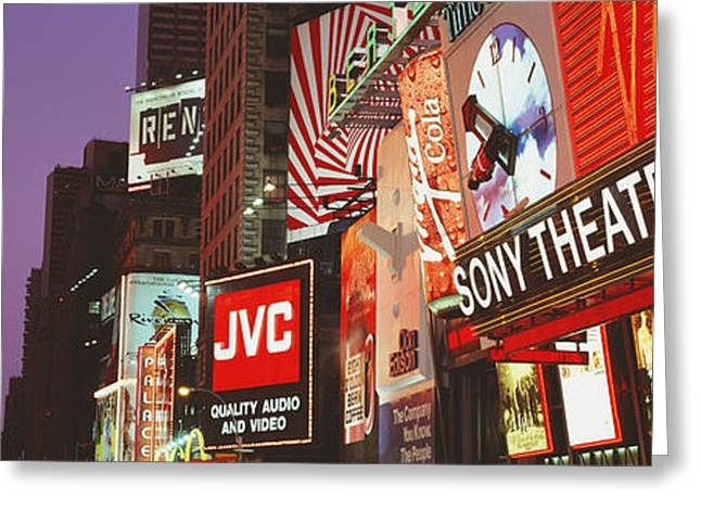 Theater Greeting Cards - Billboards On Buildings, Times Square Greeting Card by Panoramic Images