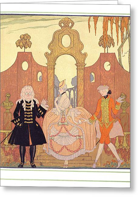 Fame Greeting Cards - Billet Doux Greeting Card by Georges Barbier