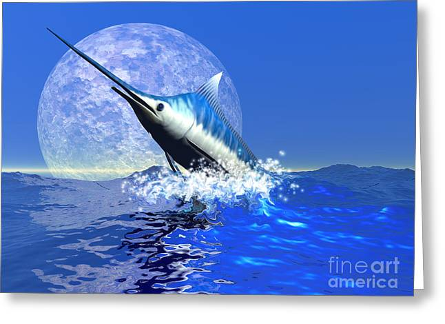 Swordfish Digital Art Greeting Cards - Billfish Greeting Card by Corey Ford