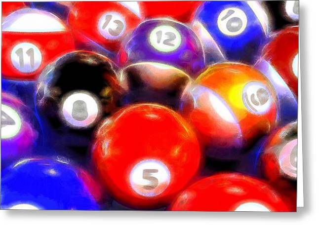 Tricks Mixed Media Greeting Cards - Billiard Balls On The Table Greeting Card by Dan Sproul