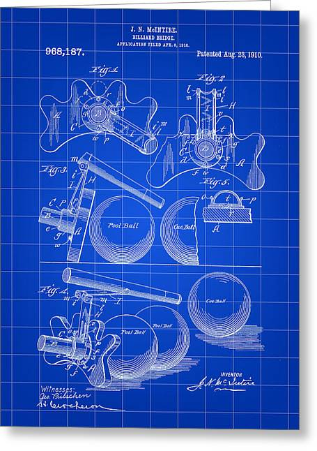 Billiard Digital Art Greeting Cards - Billiard Bridge Patent 1910 - Blue Greeting Card by Stephen Younts