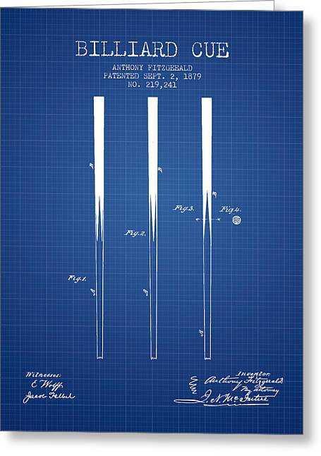 Billiard Digital Art Greeting Cards - Billiard Cue Patent from 1879 - Blueprint Greeting Card by Aged Pixel