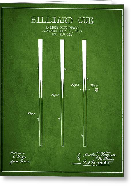 Billiard Greeting Cards - Billiard Cue Patent from 1879 - Green Greeting Card by Aged Pixel