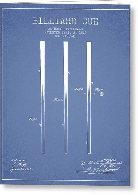 Billiard Greeting Cards - Billiard Cue Patent from 1879 - Light Blue Greeting Card by Aged Pixel