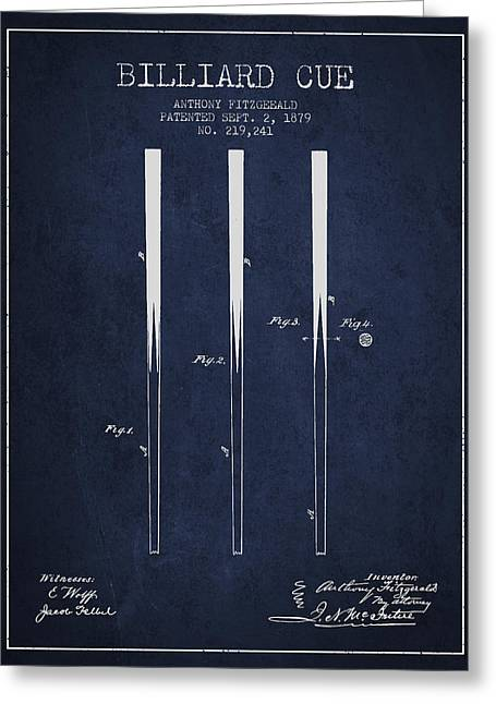 Billiard Greeting Cards - Billiard Cue Patent from 1879 - Navy Blue Greeting Card by Aged Pixel