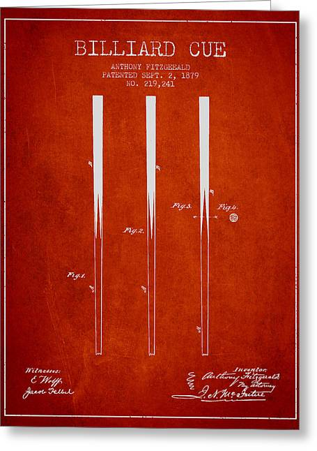 Billiard Greeting Cards - Billiard Cue Patent from 1879 - Red Greeting Card by Aged Pixel