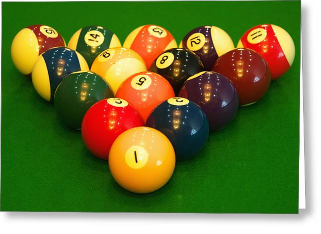 Recreational Pool Greeting Cards - Billiard game balls Greeting Card by Guang Ho Zhu