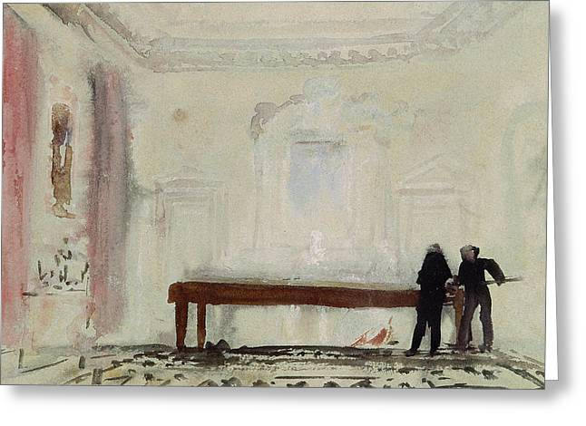 Billiard Greeting Cards - Billiard players at Petworth House Greeting Card by Joseph Mallord William Turner