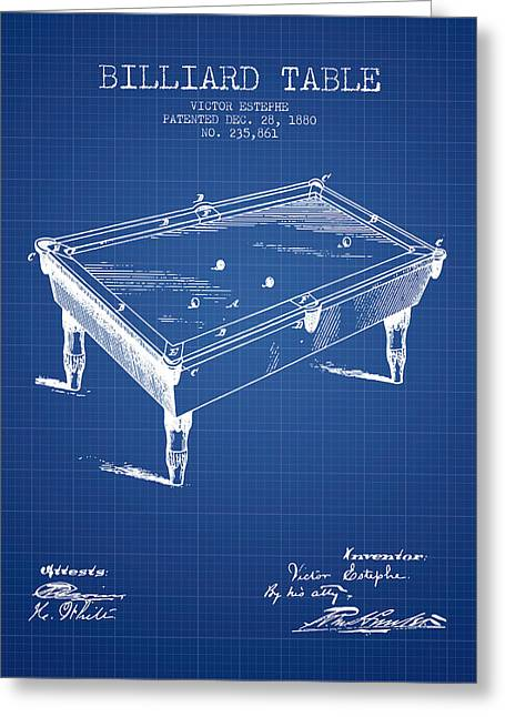 Billiard Greeting Cards - Billiard Table Patent from 1880 - Blueprint Greeting Card by Aged Pixel