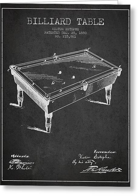 Billiard Greeting Cards - Billiard Table Patent from 1880 - Charcoal Greeting Card by Aged Pixel