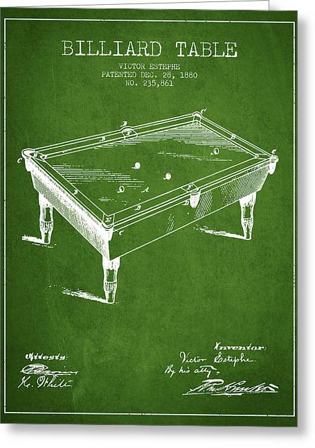 Billiard Greeting Cards - Billiard Table Patent from 1880 - Green Greeting Card by Aged Pixel