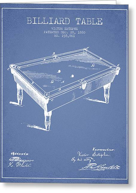 Billiard Greeting Cards - Billiard Table Patent from 1880 - Light Blue Greeting Card by Aged Pixel