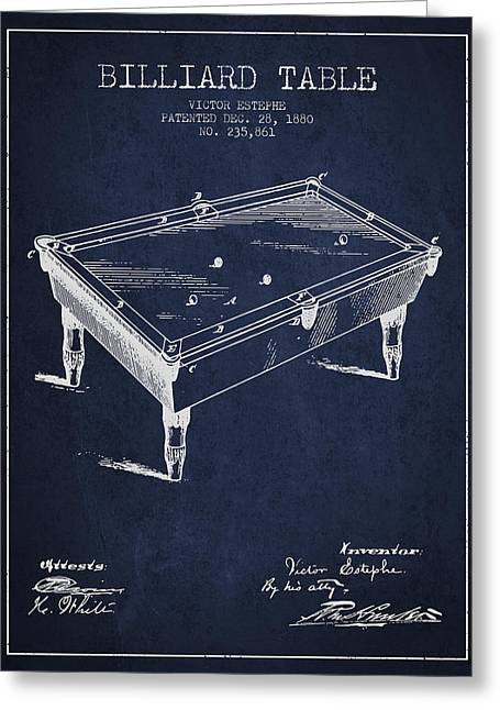 Billiard Greeting Cards - Billiard Table Patent from 1880 - Navy Blue Greeting Card by Aged Pixel