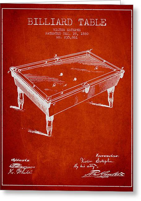 Billiard Greeting Cards - Billiard Table Patent from 1880 - Red Greeting Card by Aged Pixel