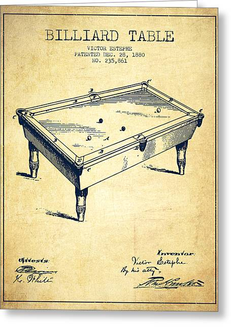 Billiard Greeting Cards - Billiard Table Patent from 1880 - Vintage Greeting Card by Aged Pixel