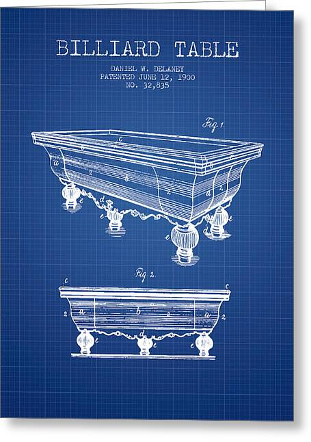 Billiard Digital Art Greeting Cards - Billiard Table Patent from 1900 - Blueprint Greeting Card by Aged Pixel