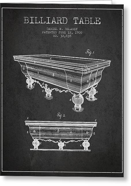 Billiard Digital Art Greeting Cards - Billiard Table Patent from 1900 - Charcoal Greeting Card by Aged Pixel