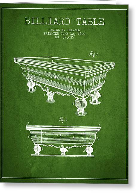 Billiard Digital Art Greeting Cards - Billiard Table Patent from 1900 - Green Greeting Card by Aged Pixel