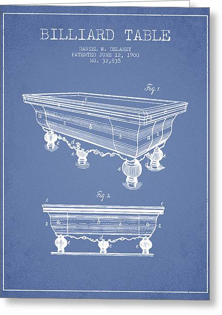 Billiard Digital Art Greeting Cards - Billiard Table Patent from 1900 - Light Blue Greeting Card by Aged Pixel