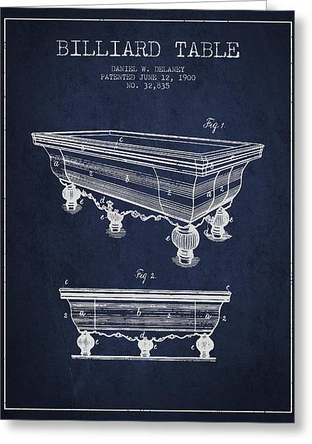 Billiard Digital Art Greeting Cards - Billiard Table Patent from 1900 - Navy Blue Greeting Card by Aged Pixel