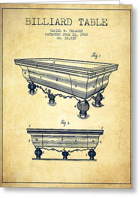 Billiard Digital Art Greeting Cards - Billiard Table Patent from 1900 - Vintage Greeting Card by Aged Pixel