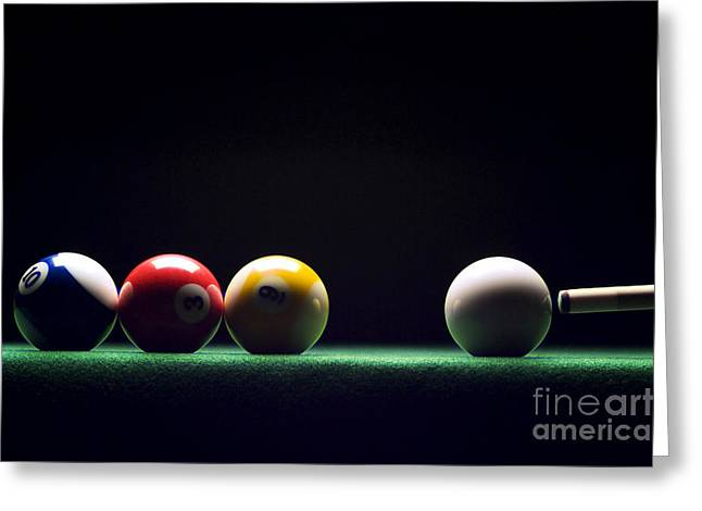 Billiard Greeting Cards - Billiard Greeting Card by Tony Cordoza