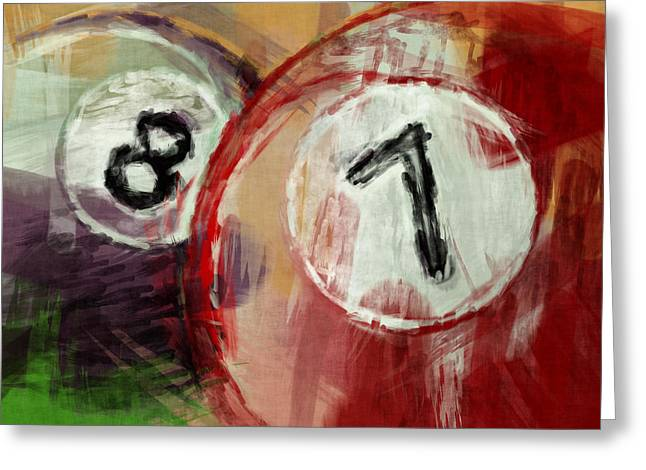 Game 7 Greeting Cards - Billiards 8 and 7 Greeting Card by David G Paul