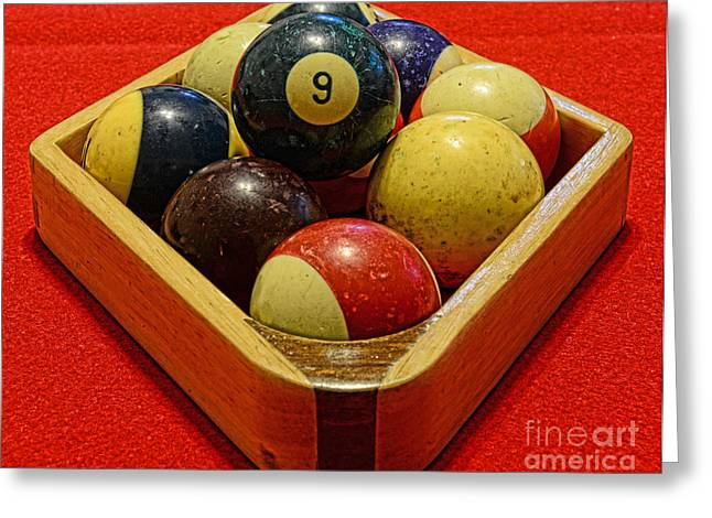 Rack Greeting Cards - Billiards - 9 ball - Pool Table - Nine ball Greeting Card by Paul Ward