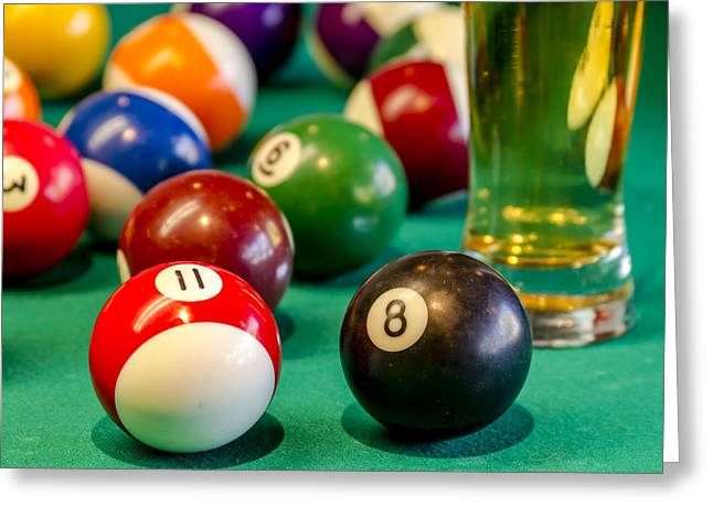 Recreational Pool Greeting Cards - Billiards Anyone Greeting Card by Teri Virbickis