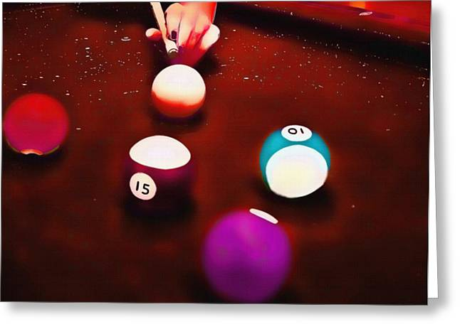 Huntsville Greeting Cards - Billiards Art - Your Break Red Greeting Card by Lesa Fine