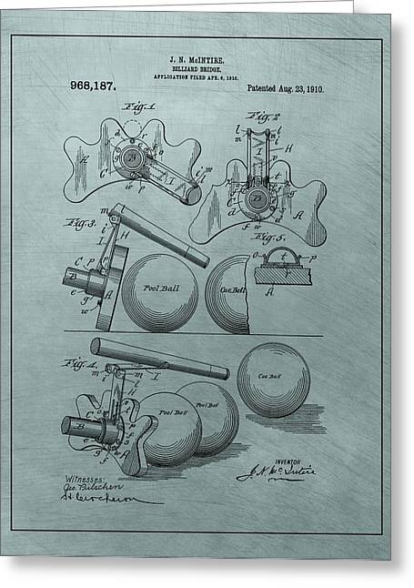 Strategy Mixed Media Greeting Cards - Billiards Bridge Patent Greeting Card by Dan Sproul