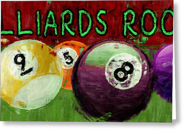 Billiards Digital Greeting Cards - Billiards Room Abstract  Greeting Card by David G Paul