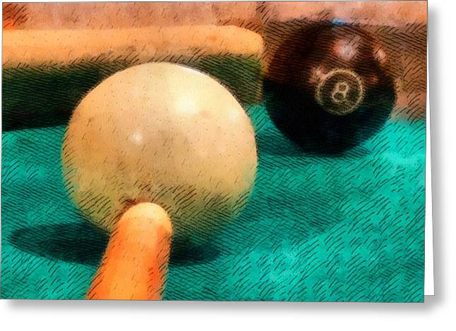 Win Greeting Cards - Billiards Room Greeting Card by Dan Sproul