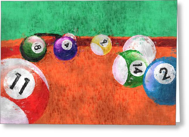 Billiards Digital Greeting Cards - Billiards Table Greeting Card by David G Paul