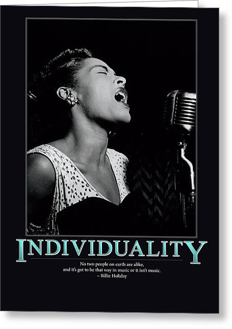 Individuality Greeting Cards - Billie Holiday Individuality   Greeting Card by Retro Images Archive