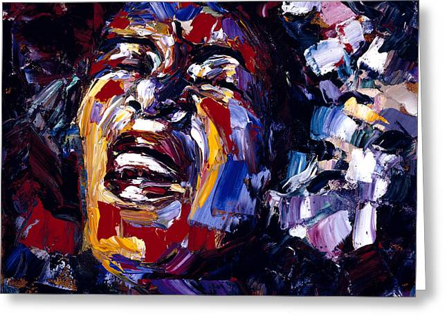 Billie Holiday Greeting Cards - Billie Holiday Jazz Faces series Greeting Card by Debra Hurd