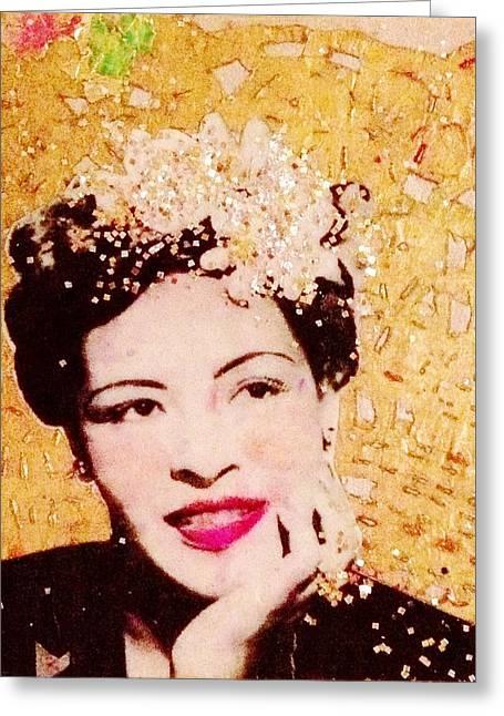 Billie Holiday Greeting Cards - Billie is Golden Greeting Card by Melinda Jones