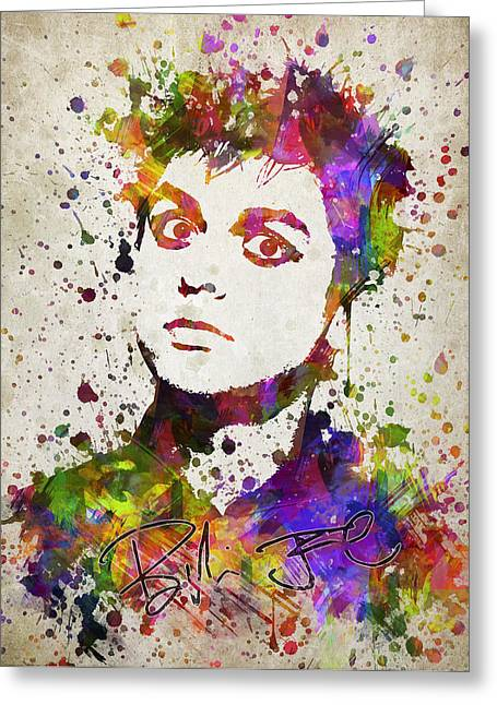Splutter Greeting Cards - Billie Joe Armstrong in Color Greeting Card by Aged Pixel