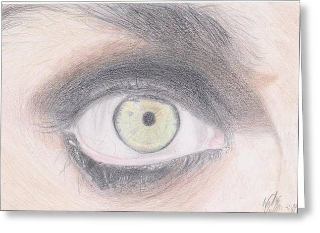 Green Day Greeting Cards - Billie Joe Armstrongs Eye Greeting Card by Willow Quillen