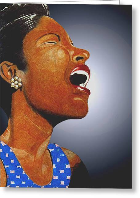 African-american Drawings Greeting Cards - Billie Greeting Card by Victor Carrington