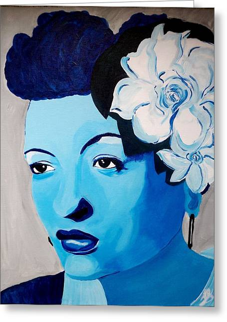 Exhibitionist Greeting Cards - Billies Blues Greeting Card by Janeen Stone Morehead