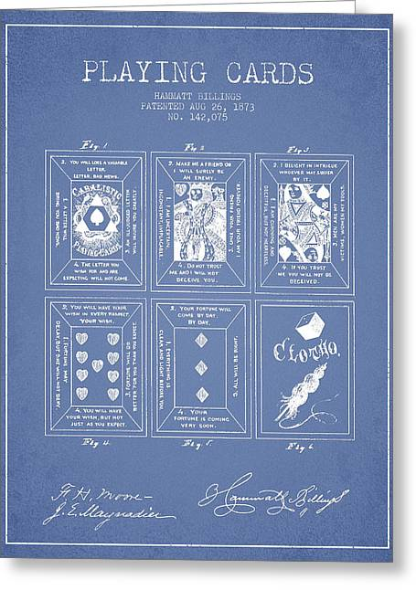 Playing Cards Digital Art Greeting Cards - Billings Playing Cards Patent Drawing From 1873 - Light Blue Greeting Card by Aged Pixel