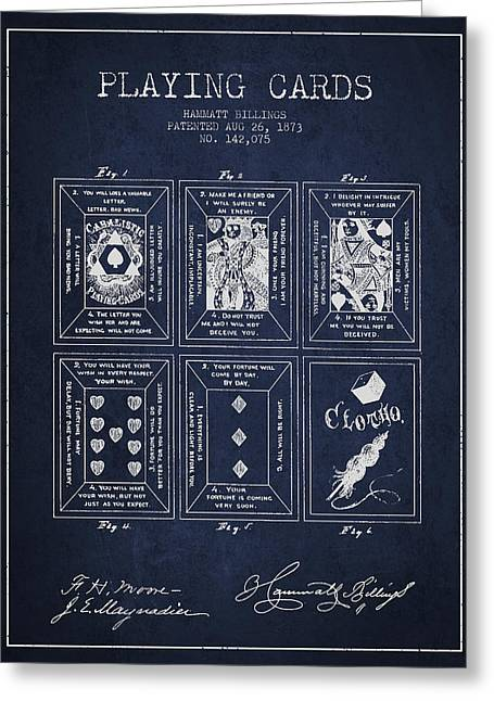 Playing Cards Digital Art Greeting Cards - Billings Playing Cards Patent Drawing From 1873 - Navy Blue Greeting Card by Aged Pixel