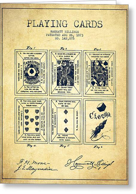 Playing Cards Digital Art Greeting Cards - Billings Playing Cards Patent Drawing From 1873 - Vintage Greeting Card by Aged Pixel
