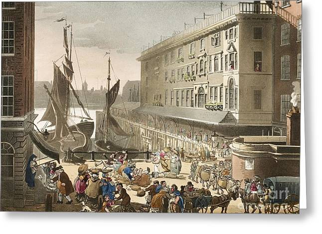 Sociology Photographs Greeting Cards - Billingsgate Fish Market, 1808 Greeting Card by British Library