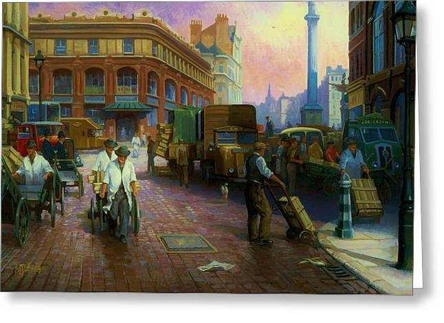 Streetscenes Paintings Greeting Cards - Billingsgate fish market. Greeting Card by Mike  Jeffries