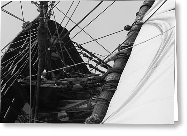 Historic Ship Greeting Cards - Billowing sail Greeting Card by Intensivelight
