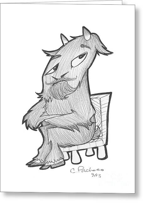 Yak Drawings Greeting Cards - Billy Bob Greeting Card by Cesar Pacheco